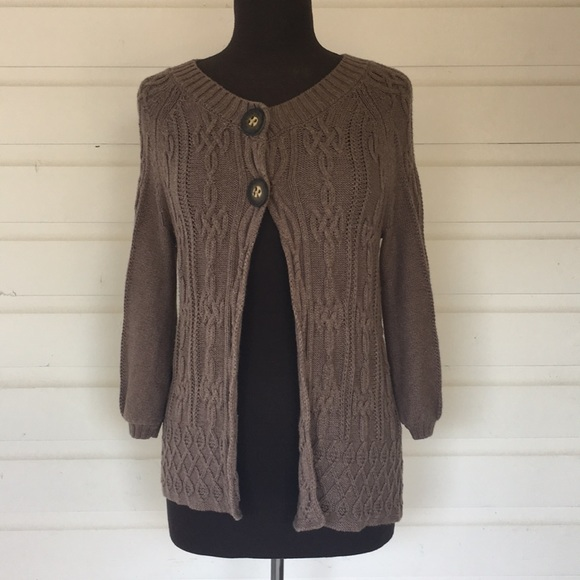 Niczoe Sweaters Nic Zoe Brown Gray Cable Knit Cardigan Sweater